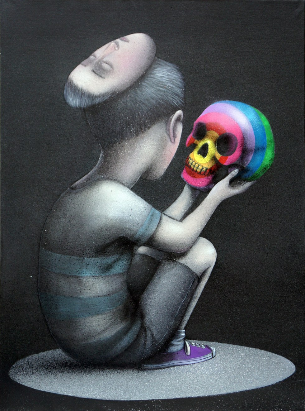"""""""Temet Nosce,"""" Acrylic and spray paint on canvas, 97 x 130 cm"""