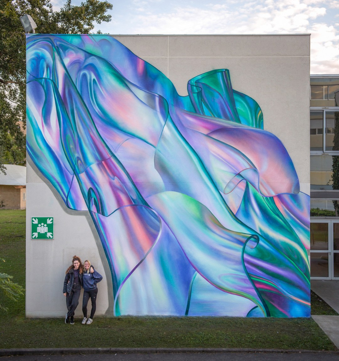 Trompe L'oeil Textiles Billow Across Murals by Rosie Woods in Iridescent Ripples