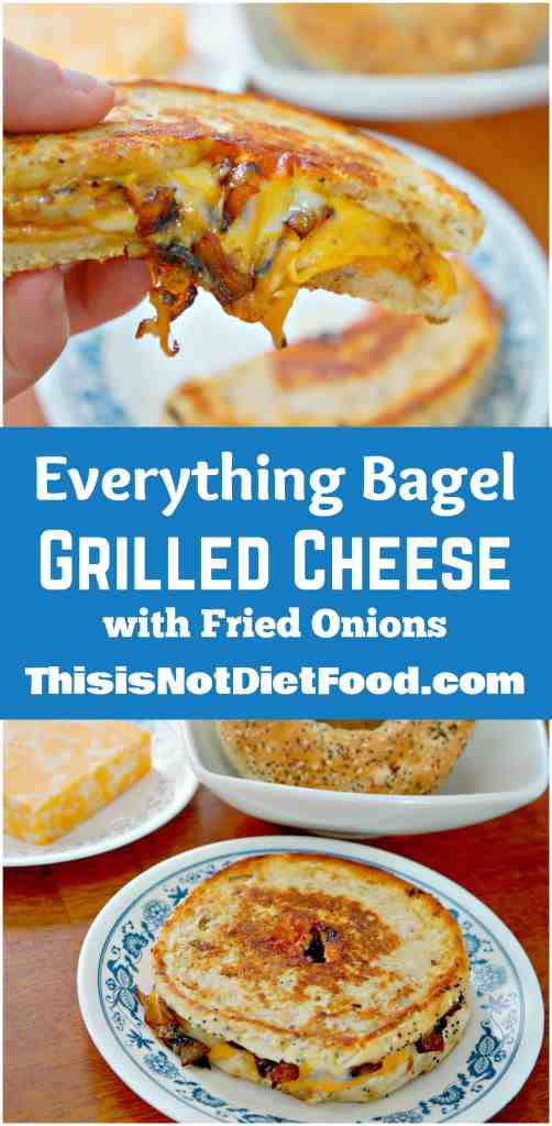 Everything Bagel Grilled Cheese with Fried Onions. Easy lunch recipe.