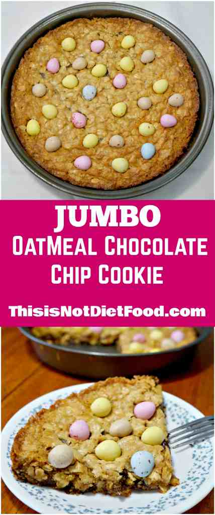 Jumbo Oatmeal Chocolate Chip Cookie. Giant cookie with mini eggs. Great Easter dessert.