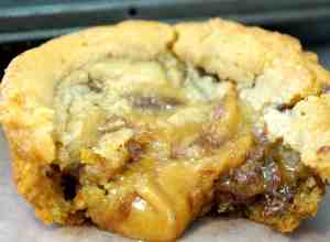 Caramel Chocolate Cream Cheese Stuffed Cookie Zoomed