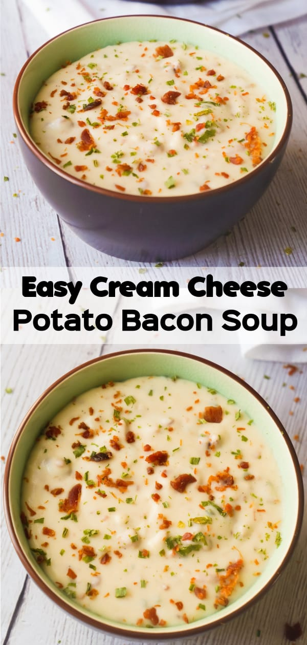 Easy Cream Cheese Potato Bacon Soup is a hearty soup recipe perfect for cold weather. This thick, creamy potato soup with cream cheese can be whipped up in just 20 minutes.