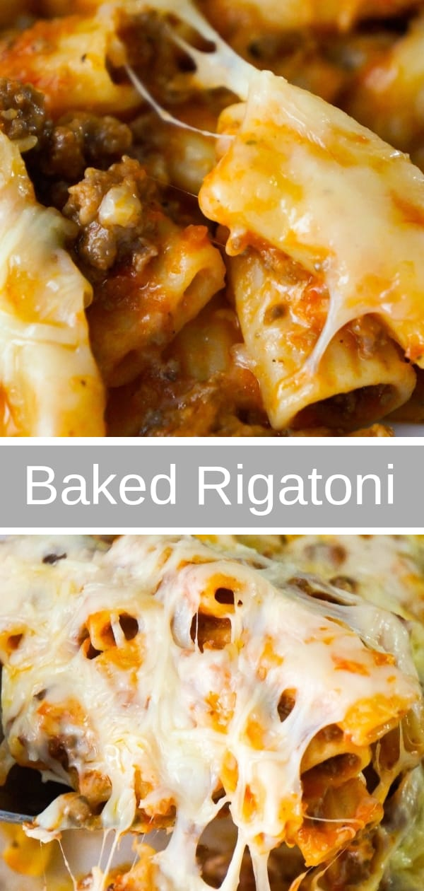 Baked Rigatoni Bolognese is an easy pasta dinner recipe loaded with cheese. This pasta with ground beef and marinara sauce, is topped with Mozzarella and Parmesan cheese.