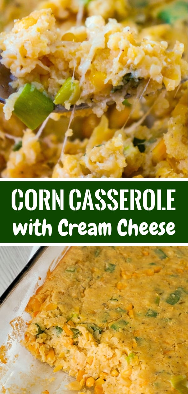 Corn Casserole with Cream Cheese is an easy side dish recipe perfect for holiday dinners and potlucks. This cheesy corn casserole made with cornbread mix is loaded with green onions and Havarti cheese.