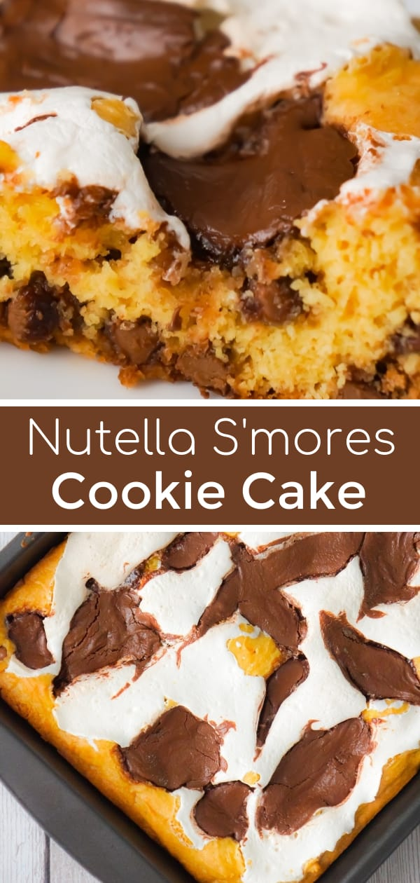 Nutella S'mores Cookie Cake is an easy dessert recipe using boxed cake mix. This delicious chocolate chip cookie cake is loaded with Nutella and Marshmallow Fluff.