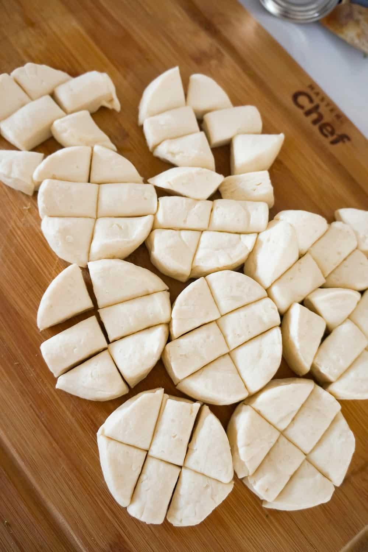 pillsbury biscuit dough cut into pieces