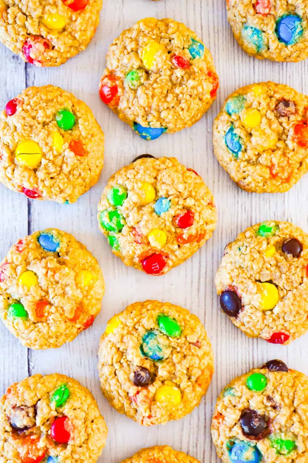 Monster Cookies are an easy no flour cookie recipe perfect for peanut butter lovers. These chewy peanut butter oatmeal cookies are loaded with M&M's.