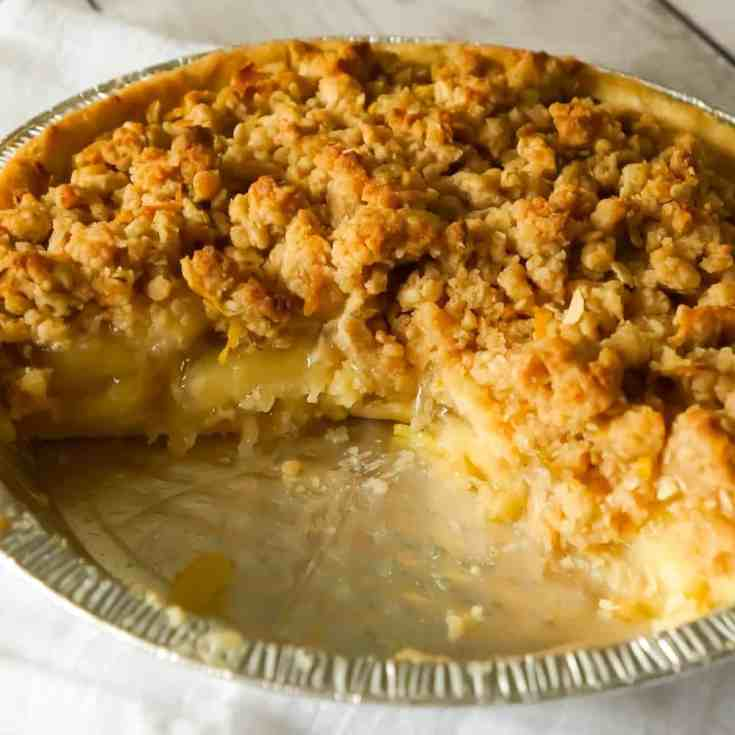 Apple Pie with Crumble Topping is an easy apple pie recipe using store bought crust and pie filling topped with a homemade crumble topping with hints of cinnamon and citrus.