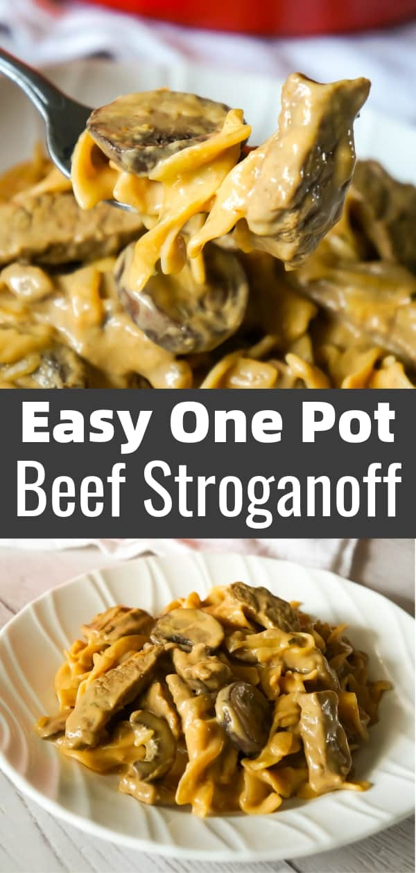 Easy Beef Stroganoff is a delicious one pot dinner recipe loaded with steak strips, onions, mushrooms and egg noodles in a sour cream and beef gravy sauce.
