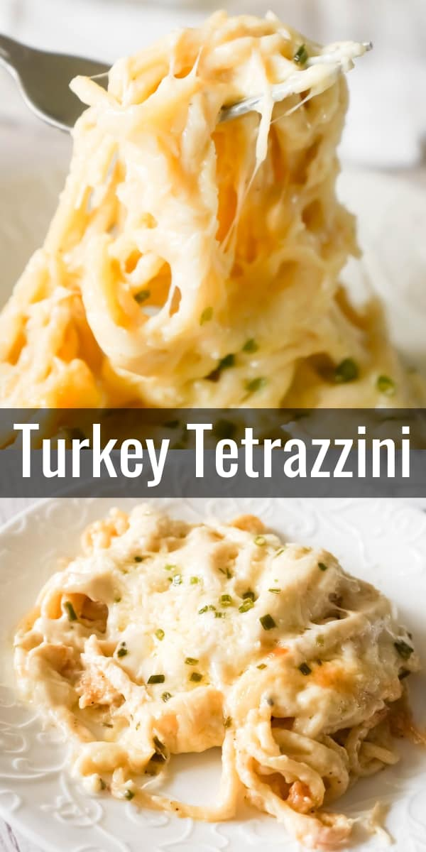 Turkey Tetrazzini is a creamy and cheesy baked pasta recipe perfect for using up leftover Thanksgiving turkey. This creamy spaghetti is loaded with shredded turkey, cream cheese, Parmesan and mozzarella.