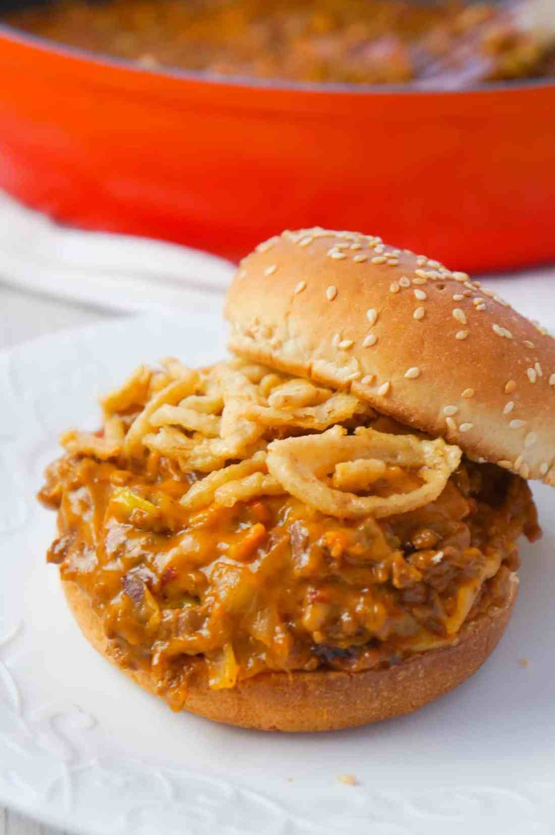 BBQ Bacon Cheeseburger Sloppy Joes are a delicious ground beef dinner loaded with crumbled bacon, BBQ sauce, salsa con queso and cheddar cheese.