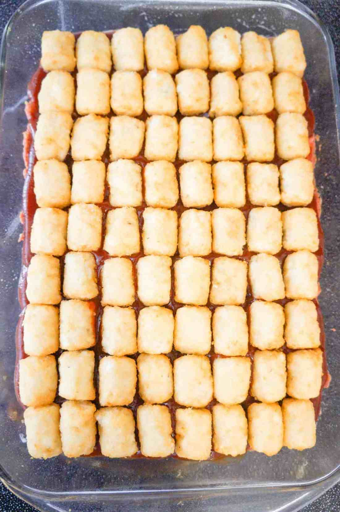 frozen tater tots on top of meatloaf casserole