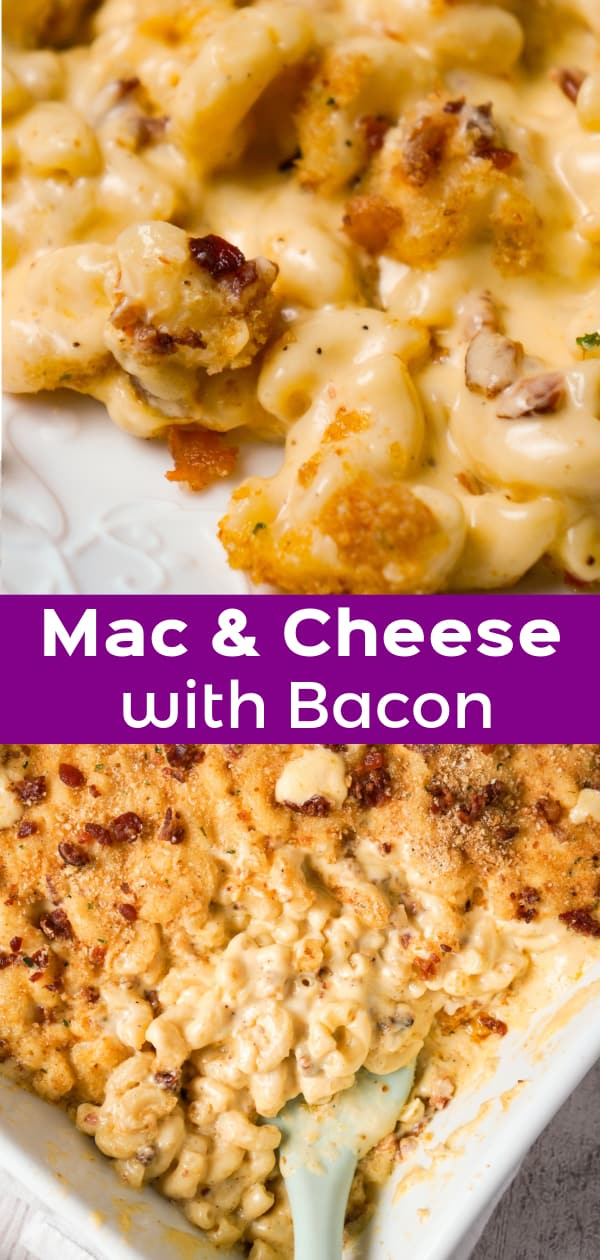 Mac and Cheese with Bacon is a creamy baked macaroni and cheese recipe made with Campbell's condensed cream of bacon soup and loaded with crumbled bacon.