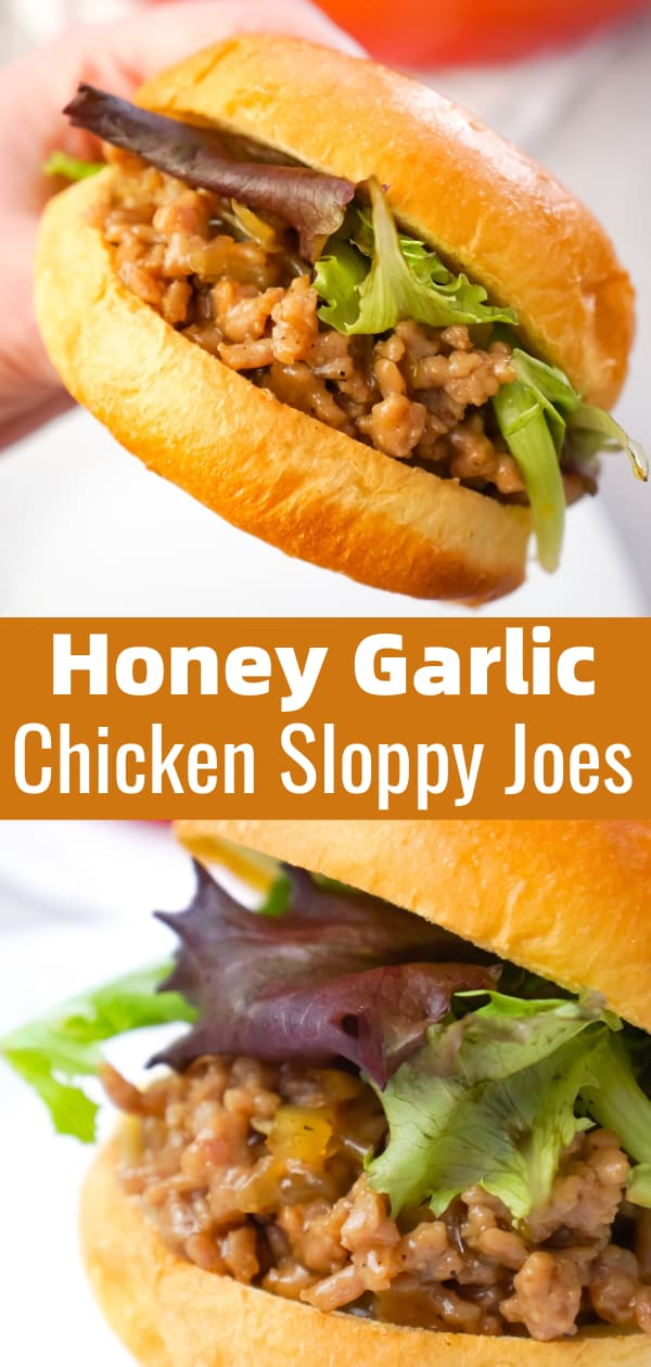 Honey Garlic Chicken Sloppy Joes are an easy weeknight dinner recipe using ground chicken coated in a sweet and savoury honey garlic sauce served on Brioche buns.