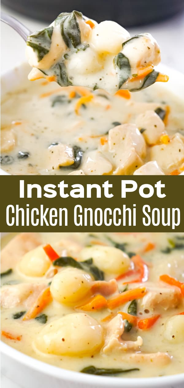 Instant Pot Chicken Gnocchi Soup is a hearty soup recipe loaded with chunks of chicken breast, potato gnocchi, carrots and shredded spinach.