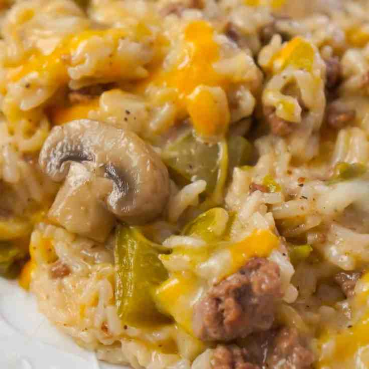 Instant Pot Philly Cheese Steak Ground Beef and Rice