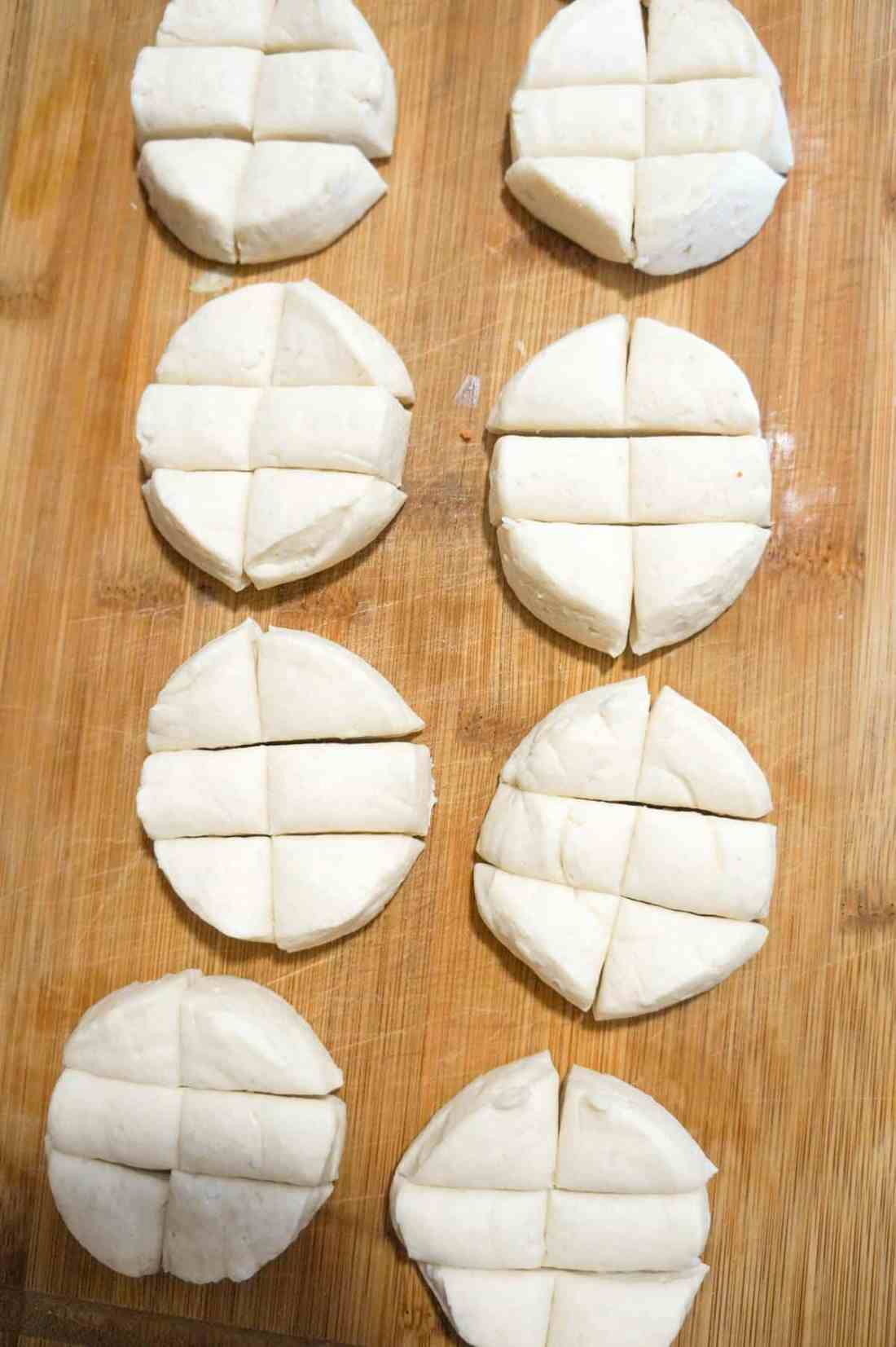Pillsbury biscuits cut into six pieces each