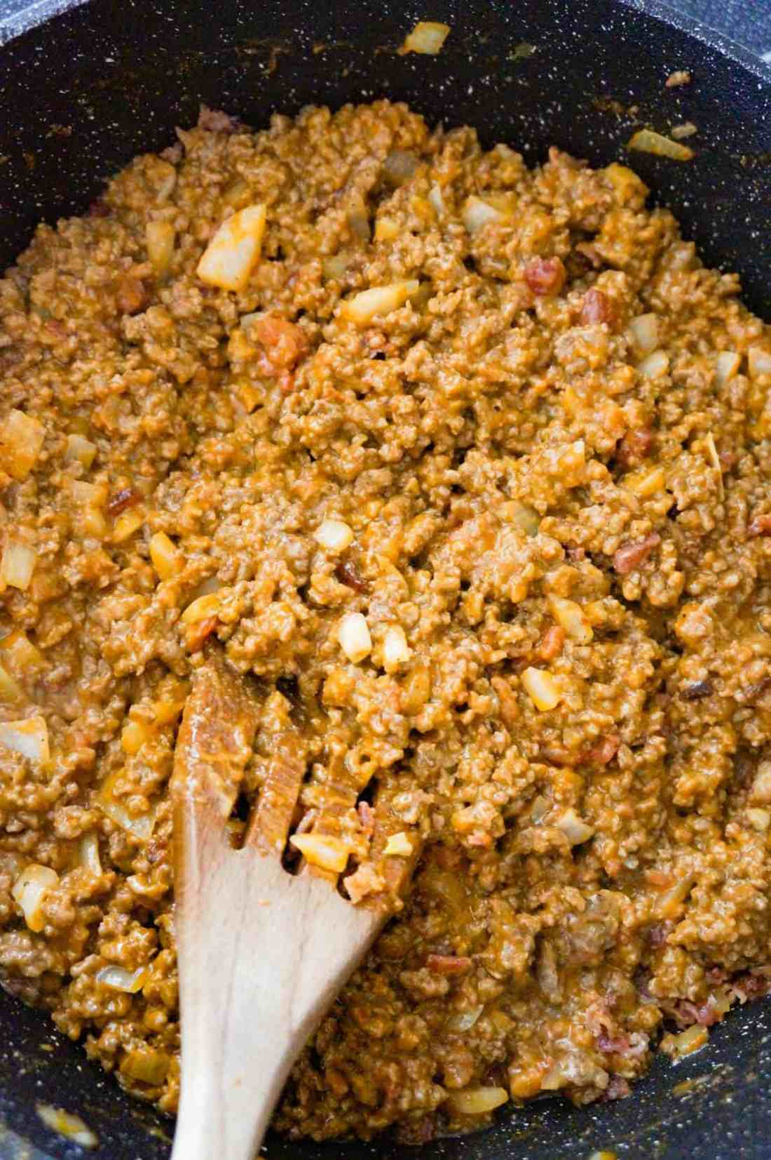 ground beef mixture in a saute pan