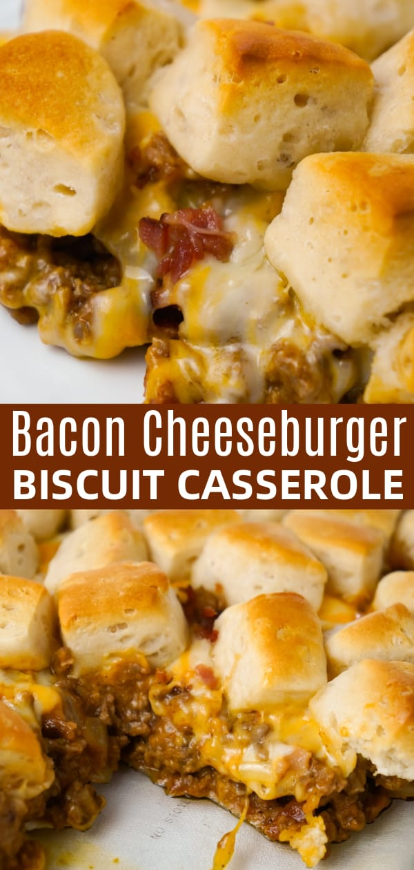 Bacon Cheeseburger Biscuit Casserole is an easy ground beef dinner recipe loaded with diced onions, condensed cheddar cheese soup, ketchup, mustard, crumbled bacon and shredded cheese all topped with pieces of Pillsbury biscuits.