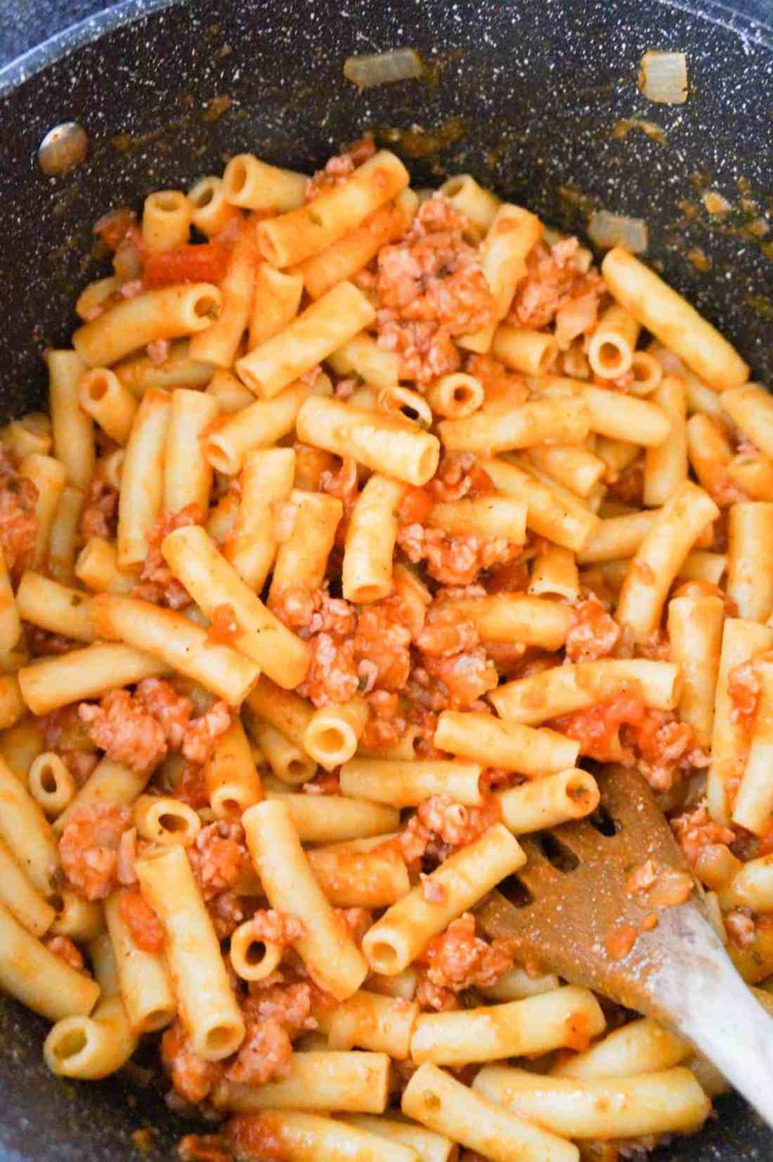 ziti with ground sausage meat in a large pot