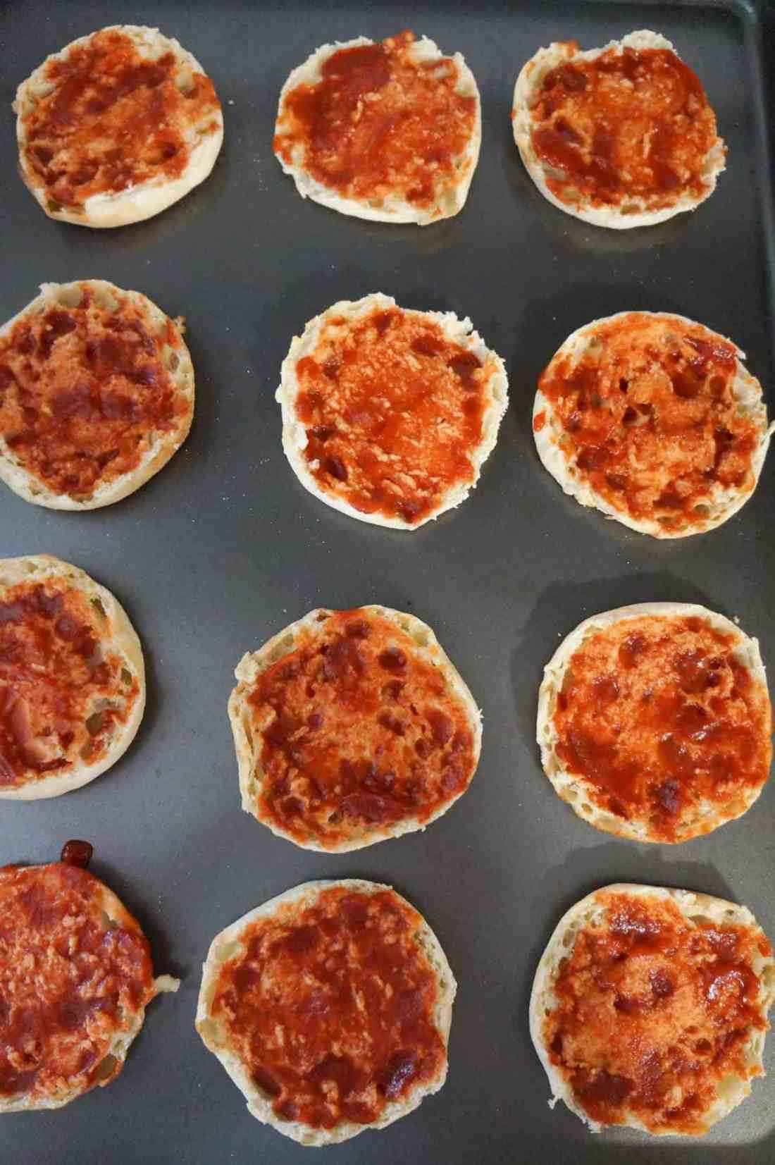 English muffins spread with Heinz chili sauce