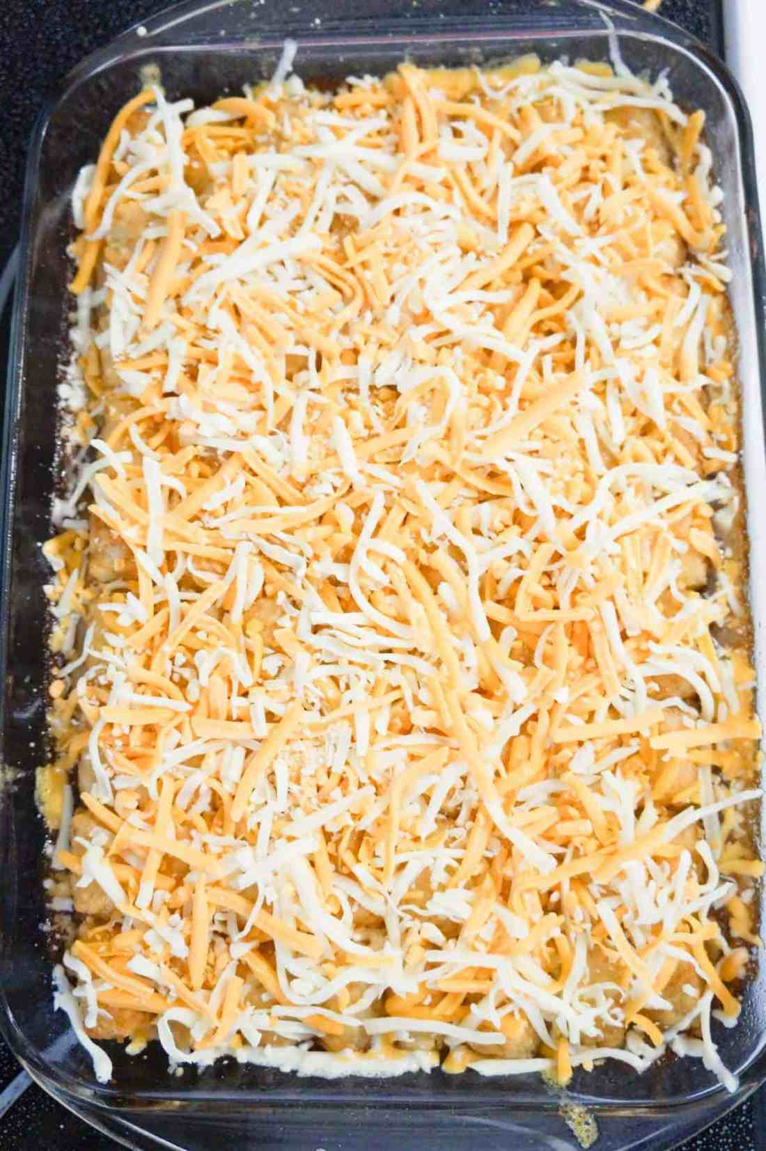 shredded cheese on top of tater tot casserole