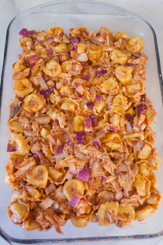 bbq chicken tortellini in baking dish