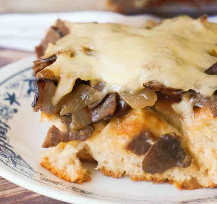 Mushroom Swiss Roast Beef Biscuit Bake