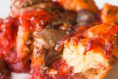 Strawberry Nutella Cinnamon Bun Casserole is an easy breakfast or brunch dish using Pillsbury Cinnamon Rolls. This breakfast casserole loaded with strawberry pie filling and chocolate hazelnut spread is a fun alternative to French toast.