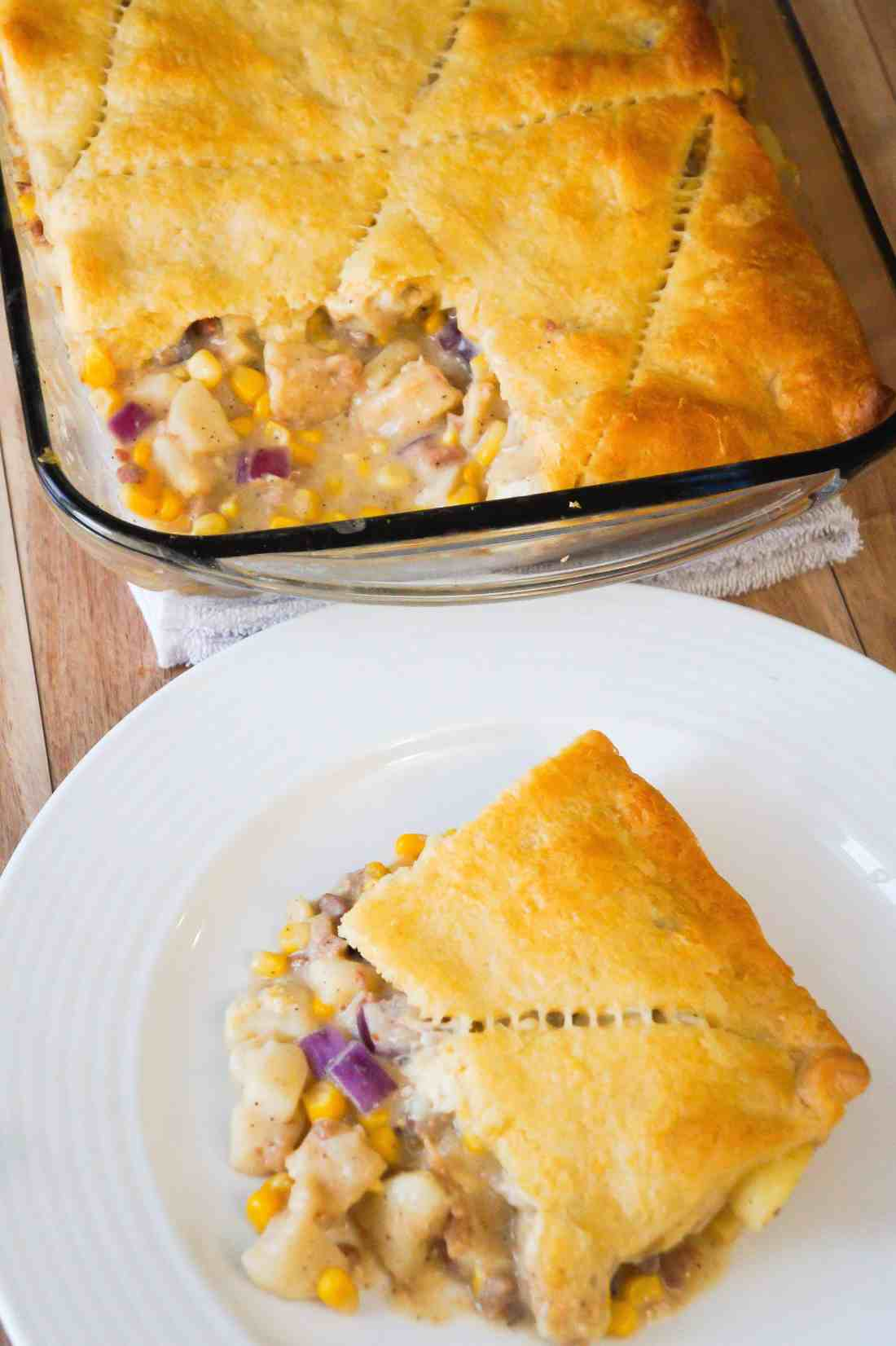 Easy chicken casserole with bacon and Pillsbury Crescent Rolls.