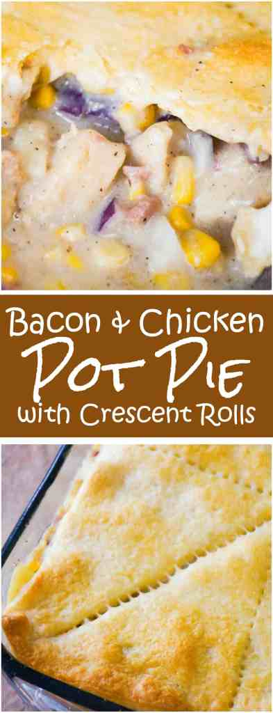Bacon Chicken Pot Pie with Crescent Rolls is an easy chicken casserole recipe perfect for cold weather. This hearty comfort food dish is loaded with chicken nuggets, real bacon bits and potatoes in a Pillsbury Crescent Roll Crust.