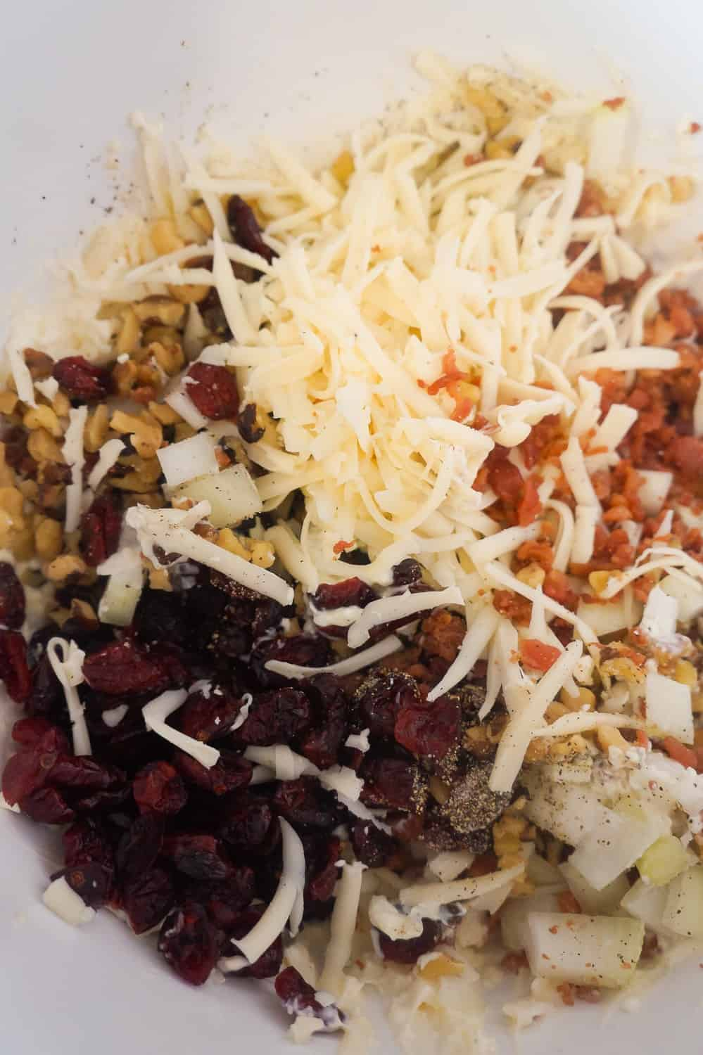 dried cranberries, shredded Swiss cheese, bacon bits and chopped walnuts in a mixing bowl