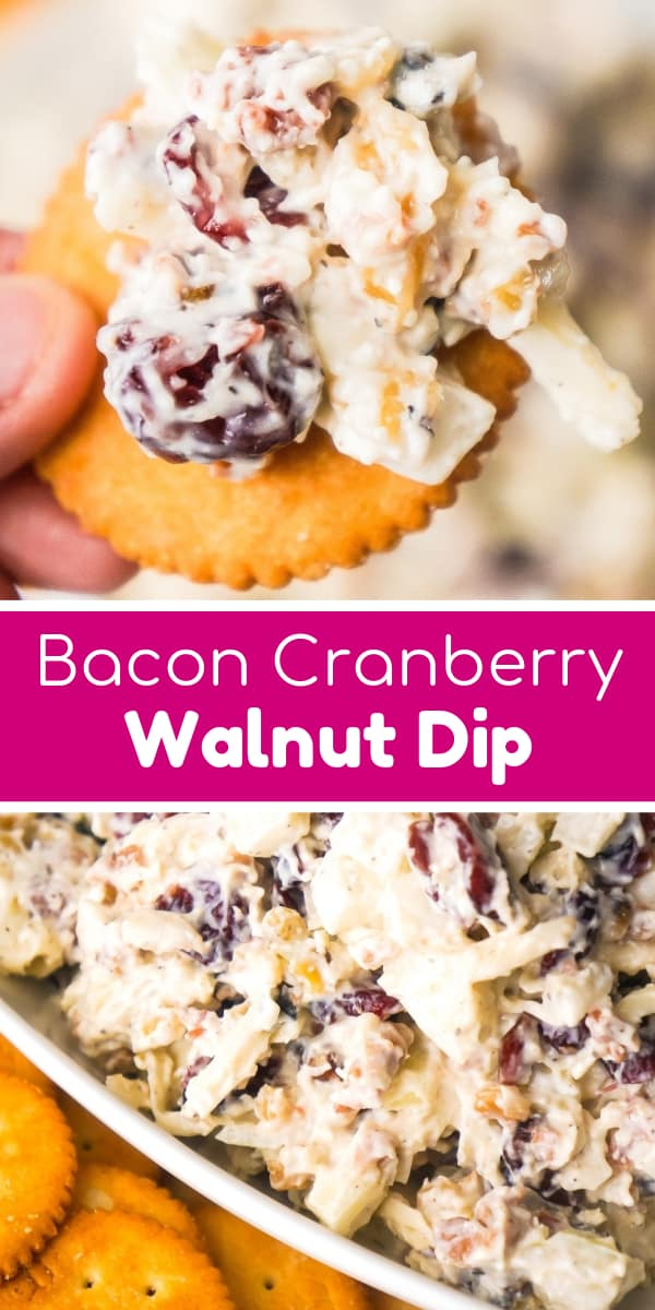 Bacon Cranberry Walnut Dip is an easy cold dip recipe perfect for serving with crackers. This cold party dip is loaded with bacon, Swiss cheese, dried cranberries and chopped walnuts.
