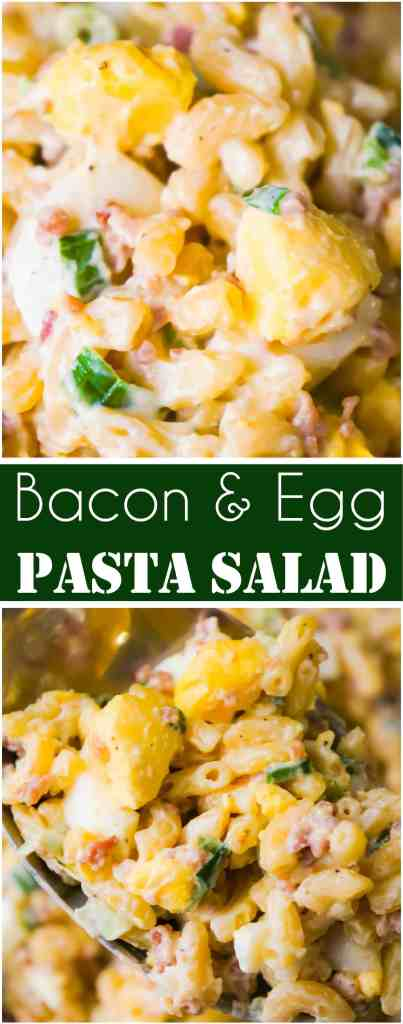 Bacon Egg Pasta Salad is a delicious cold side dish recipe. This pasta salad loaded with real bacon bits and hard boiled eggs is perfect for potlucks and BBQs.