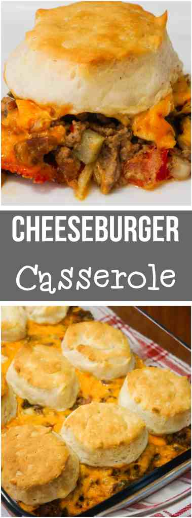 This Cheeseburger Casserole is a great easy dinner recipe using ground beef. This easy hamburger casserole is loaded with ground beef, cheese, tomatoes, pickles, onions, ketchup and mustard and topped with Pillsbury biscuits.