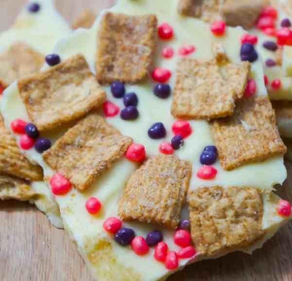 Cinnamon Toast Crunch White Chocolate Bark with Nerds