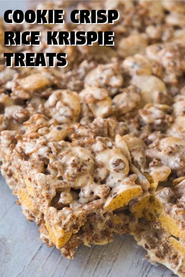 Rice Krispie Treats made with Cookie Crisp cereal and Cocoa Rice Krispies. These marshmallow treats are a fun and easy dessert recipe.