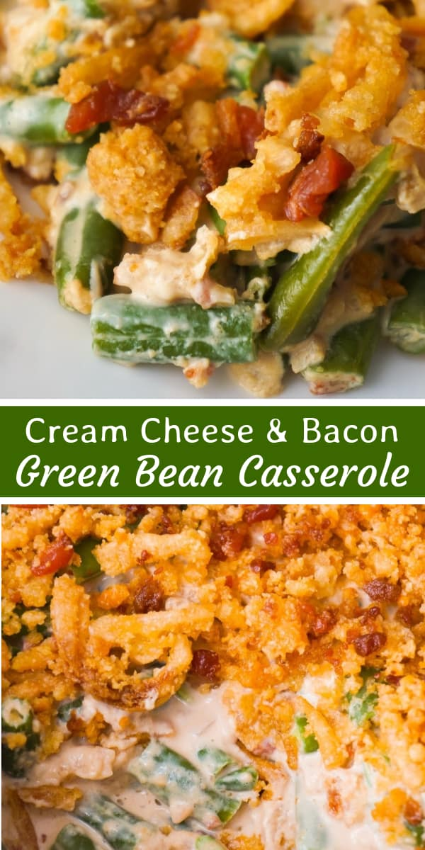 Cream Cheese and Bacon Green Bean Casserole is an easy side dish recipe perfect for Thanksgiving or Christmas. This creamy green bean casserole is loaded with real bacon bits and topped with Ritz Crackers and French's Fried Onions.