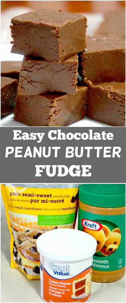 Easy chocolate peanut butter fudge using only 3 ingredients and a microwave.