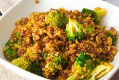 Honey Garlic Ground Beef and Rice with Broccoli is an easy stove top dinner recipe.This skillet dinner is loaded with ground beef, instant rice and broccoli florets all tossed in honey garlic sauce.