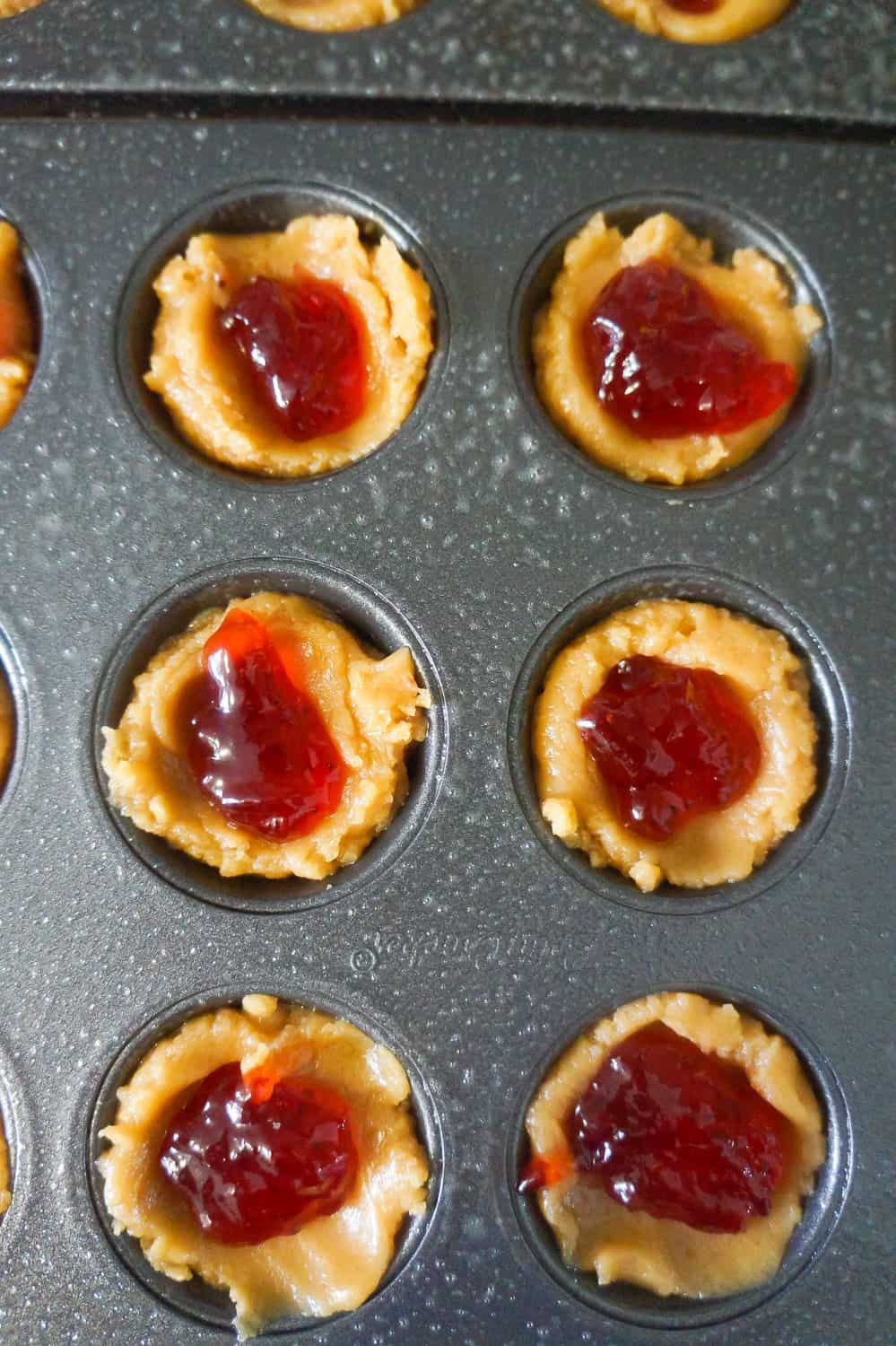 uncooked peanut butter and jelly blondie bites
