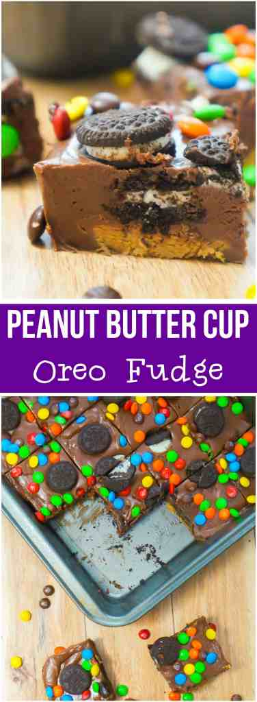 Peanut Butter Cup Oreo Fudge. Easy microwave fudge recipe.