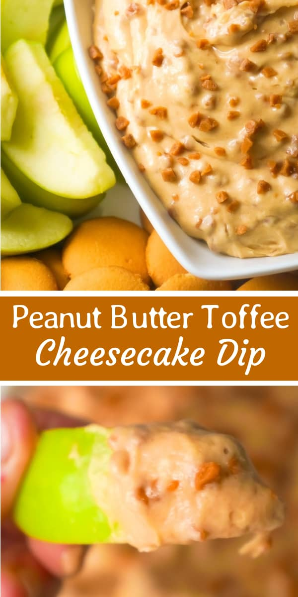 Peanut Butter Toffee Cheesecake Dip is an easy no bake dessert recipe perfect for summer. This sweet cream cheese dip loaded with Skor bits, is perfect to serve with fruit or cookies.