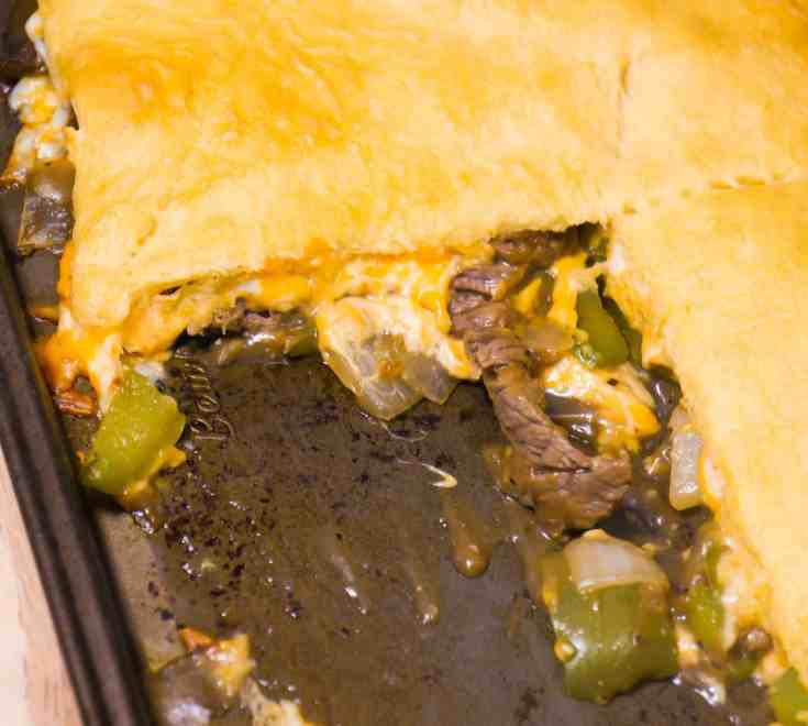 Philly cheese steak crescent bake is an easy dinner recipe.