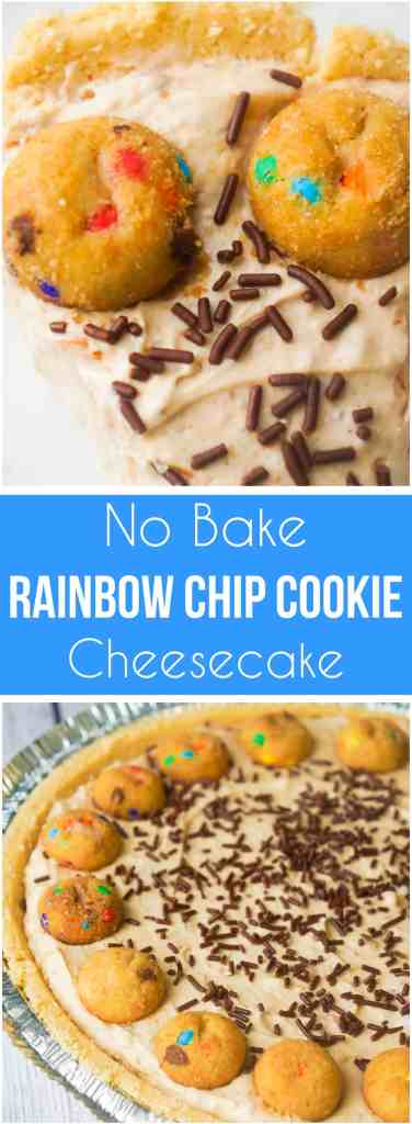 Rainbow Chip Cookie No Bake Cheesecake is an easy no bake pie recipe perfect for spring and summer. This tasty dessert is made in a shortbread pie crust and loaded with crushed Rainbow Chips Ahoy Cookies.