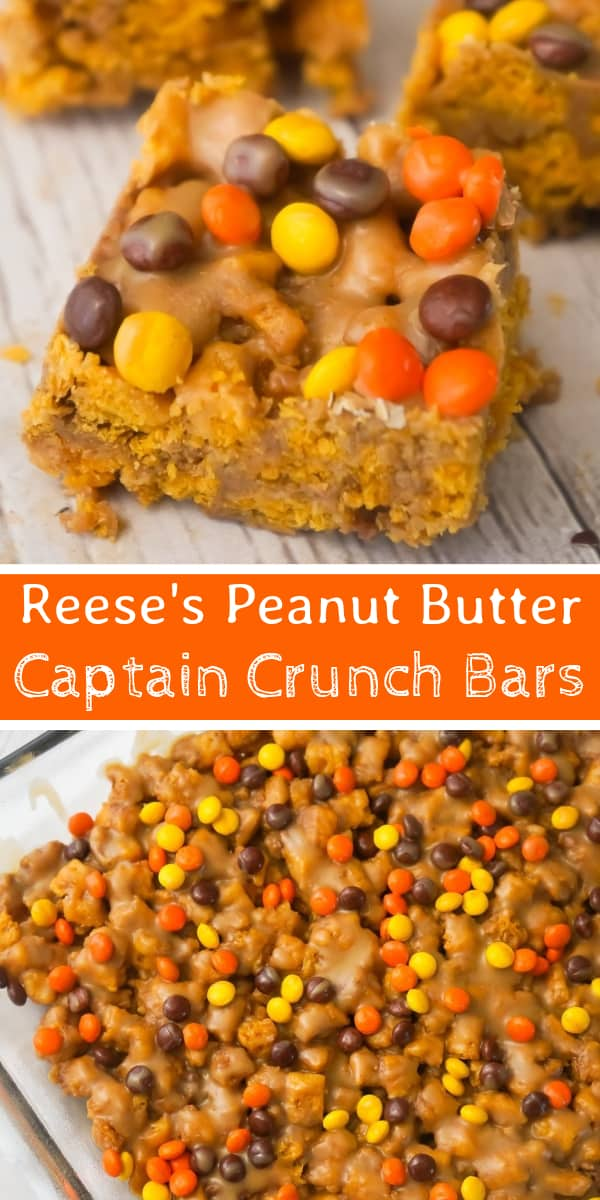 Reese's Peanut Butter Captain Crunch Bars are an easy dessert recipe perfect for peanut butter lovers. These peanut butter and marshmallow treats are like rice krispie treats but with Captain Crunch cereal instead.