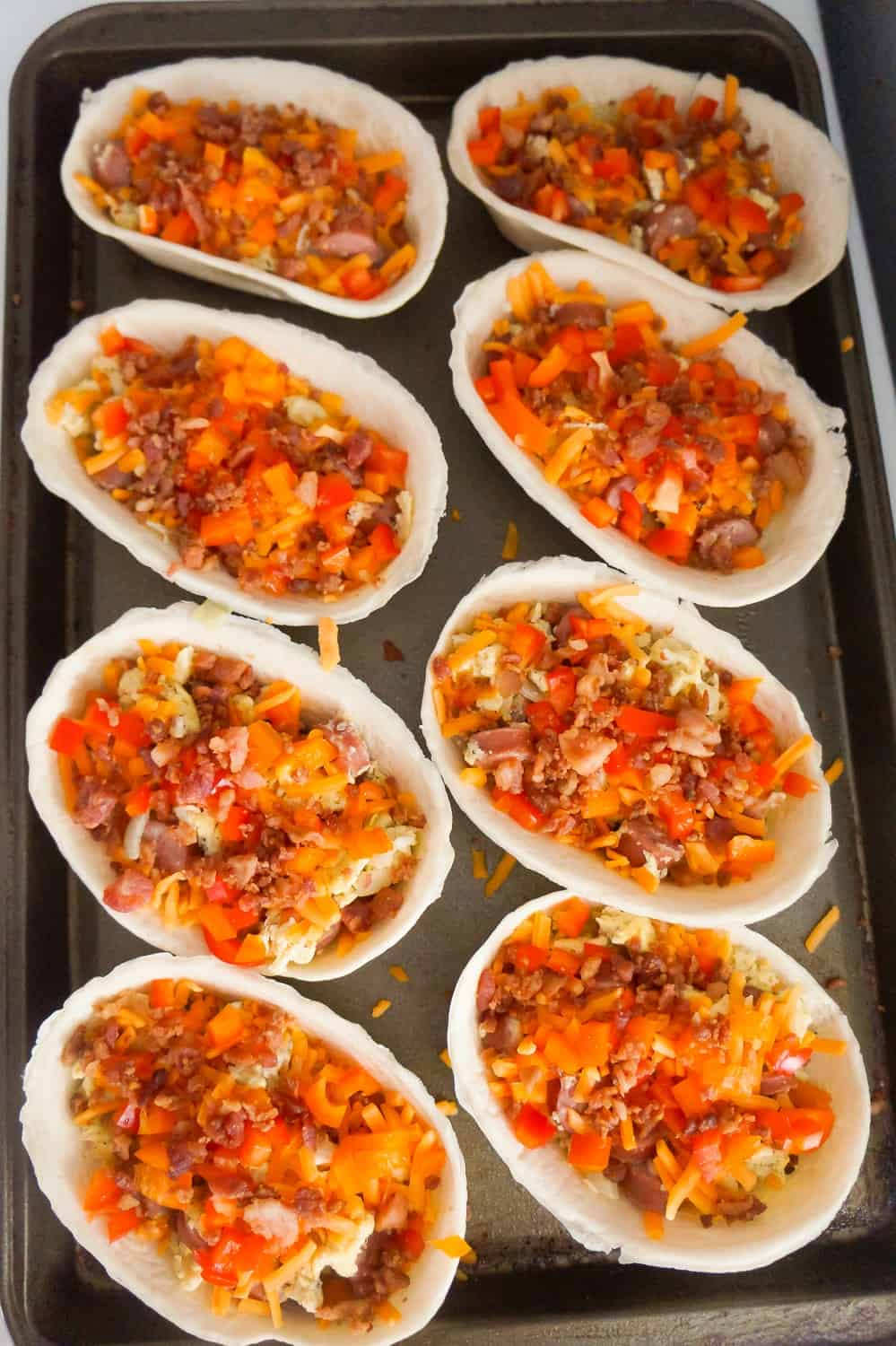 diced bell peppers in taco bowls