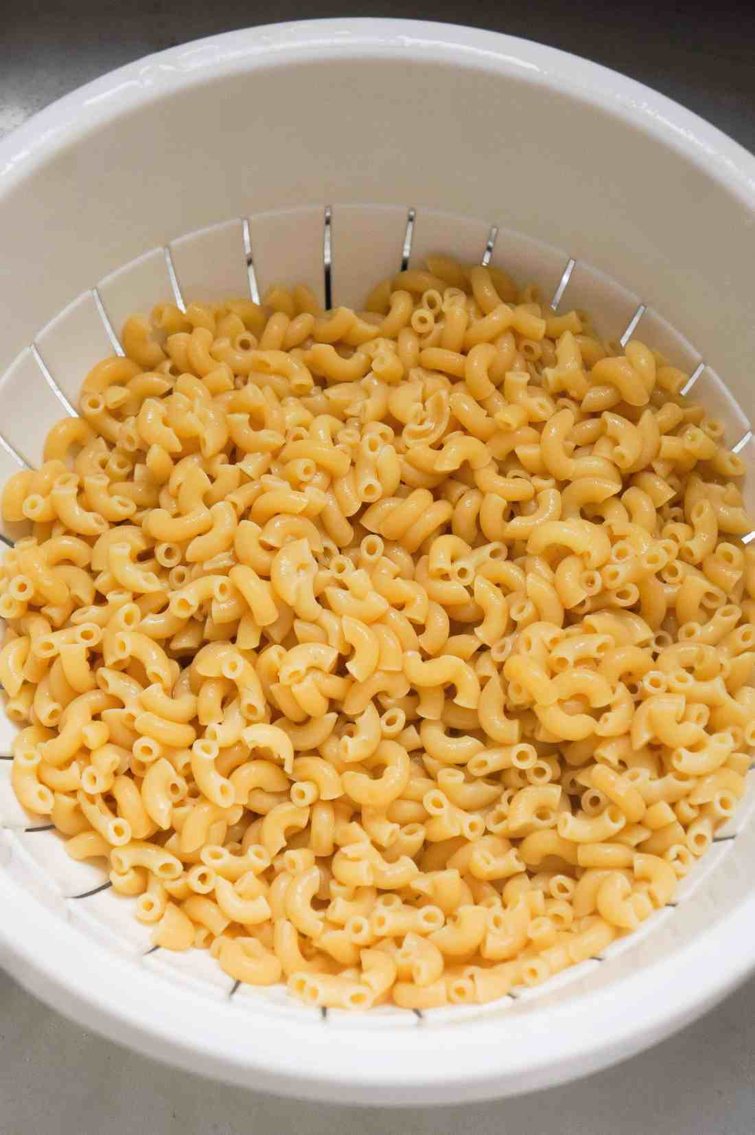 cooked macaroni for pasta salad
