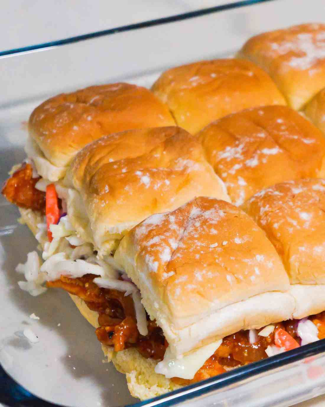 Sweet Chili BBQ Chicken Sliders. Perfect party food.
