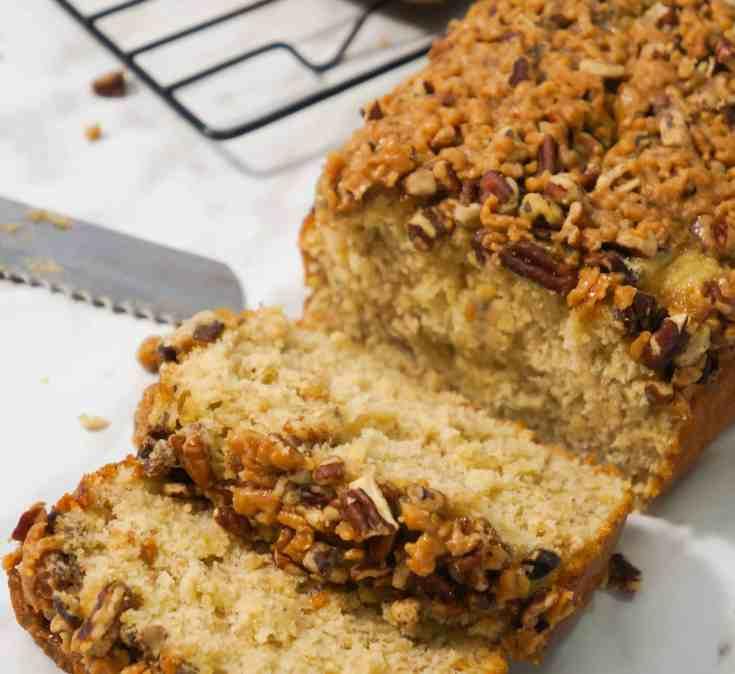 Toffee pecan crunch banana bread